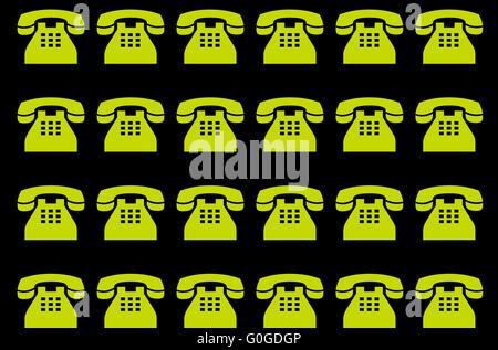 neon phones on black background - Stock Photo