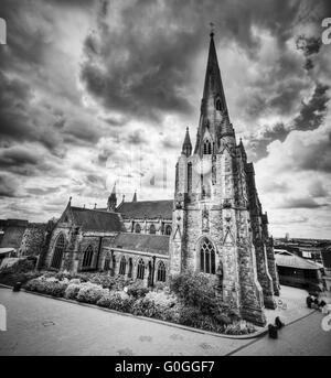 St Martin in the Bull Ring church in Birmingham, UK. Black and white - Stock Photo