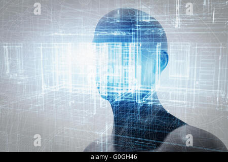 Virtual reality projection. Future science with modern technology, artificial intelligence - Stock Photo