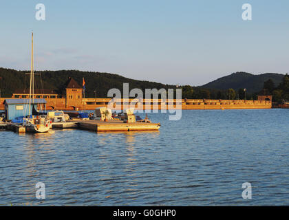 masonry dam of the edersee from the waterside - Stock Photo