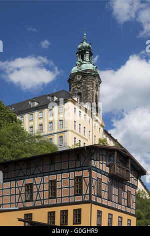 Looking for Heidecksburg Rudolstadt with half-timbered house in the foreground, Thuringia, Germany, - Stock Photo