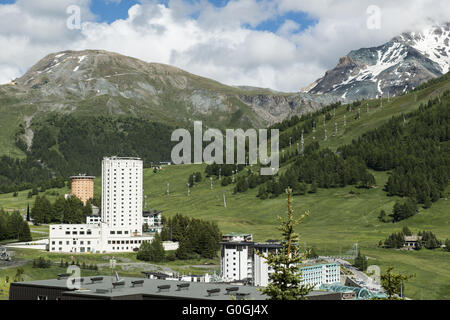View to the Place of Olympic Games Sestriere - Stock Photo