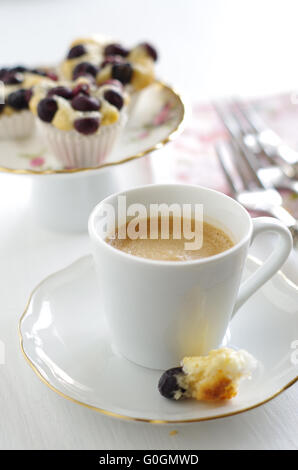 blueberry pie and coffee - Stock Photo