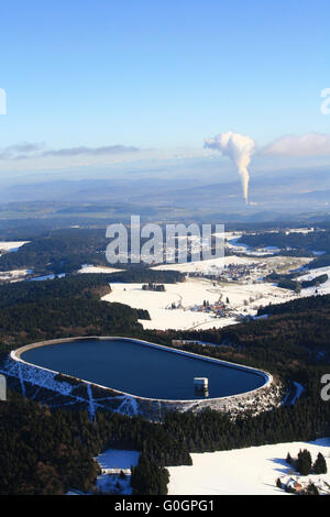 Hornbergbecken in the Black Forest and plume of the nuclear power plant Leibstadt in Switzerland - Stock Photo