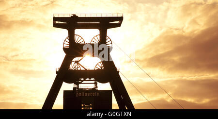 UNESCO World Heritage site Zeche Zollverein, double winding tower, shaft 12, Essen, Germany - Stock Photo