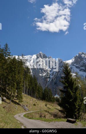 Hike above Scharnitzkehlalm and Hoher Göll mountain 2,522 m (8,274 ft), Endstal,Berchtesgaden Alps, Germany - Stock Photo