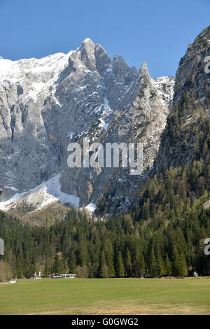 Scharitzkehlalm and Hoher Göll mountain 2,522 m (8,274 ft), Endstal,Berchtesgaden Alps, Germany - Stock Photo