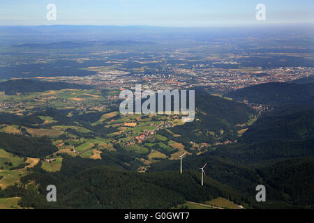 Wind energie plants in the Black Forest in the area of Freiburg Stock Photo