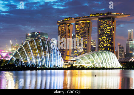 South East Asia, Singapore, Gardens by the Bay, Cloud Forest, Flower Dome, Marina Bay Sands Hotel and Casino - Stock Photo