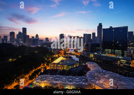 South East Asia, Singapore, Clarke Quay and Marina Bay Sands Hotel and Casino - Stock Photo