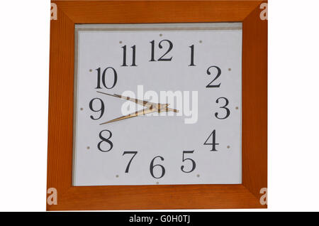 watch with the dial in a brown frame on a white background - Stock Photo