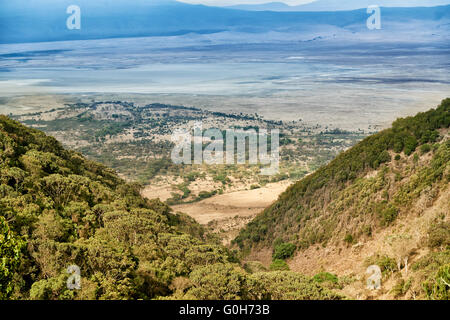 view from the rim into the Ngorongoro crater, Ngorongoro Conservation Area, UNESCO world heritage site, Tanzania, - Stock Photo