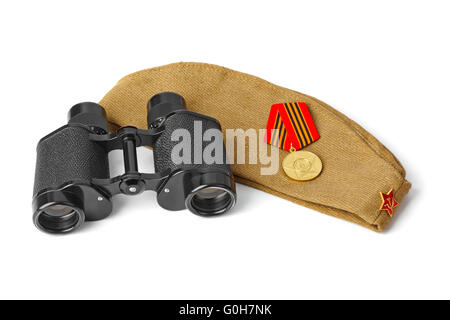 Soviet Army soldiers forage-cap and binoculars - Stock Photo