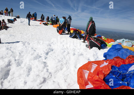 Paragliders before take off in a row - Stock Photo