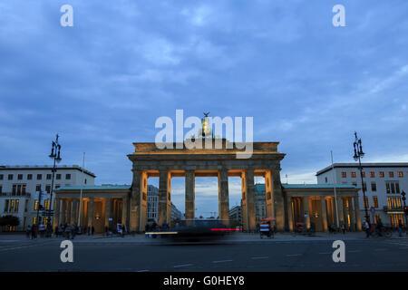 Brandenburg gates in Berlin with crowd - Stock Photo