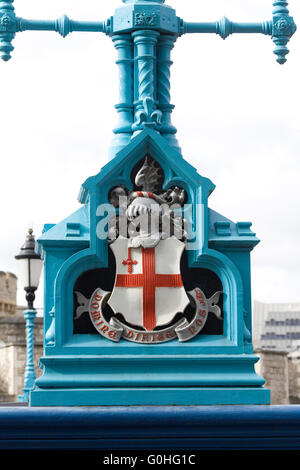 Tower bridge detail with the red cross of St George - Stock Photo