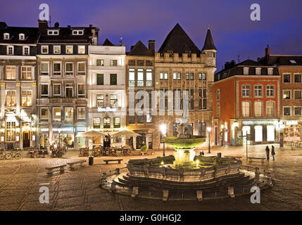 Charlemagne fountain on market place in the evening, Aix-la-chapelle, Germany, Europe - Stock Photo