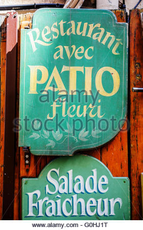 Restaurant with pation in France - Stock Photo