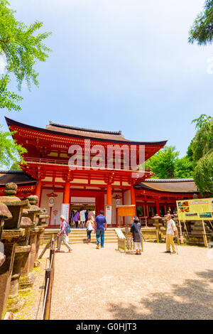 Kasuga-Taisha Front Entrance Gate People Entering - Stock Photo