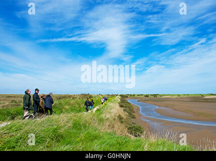 Birders at Titchwell Marsh, an RSPG nature reserve on the North Norfolk coast, England UK - Stock Photo