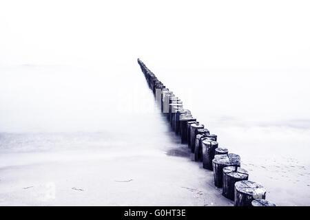Groynes on coast of baltic sea - Stock Photo