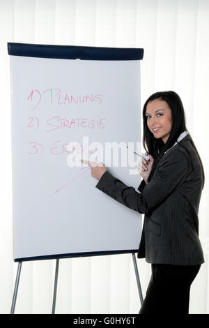 Coach flip chart in German. Training and education - Stock Photo