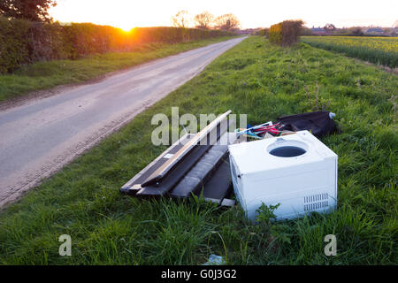fly tipping in the UK - Stock Photo