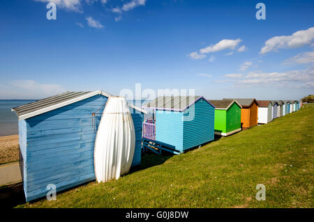 Huts along the beach in Whitstable, Kent, England - Stock Photo