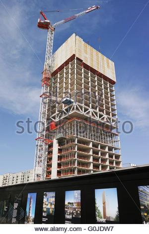 Construction underway at the Manhattan Loft Gardens site: Stratford,  London. - Stock Photo
