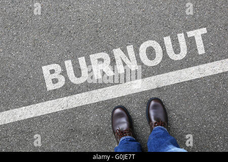 Burnout ill illness stress stressed at work businessman business man concept overworked - Stock Photo