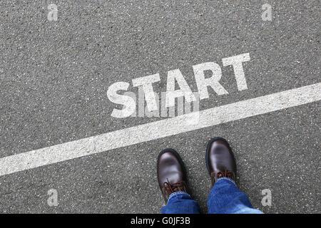 Start starting running race begin beginning businessman business man concept career goals motivation vision - Stock Photo