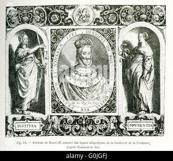 The figure in the center is Henry IV (1553-1610), king of France, who was also known as 'Good King Henry.'  He was - Stock Photo