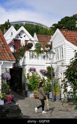 Wooden houses, Gamle Stavanger, Old Stavanger, old town, Stavanger, Rogaland, Norway - Stock Photo