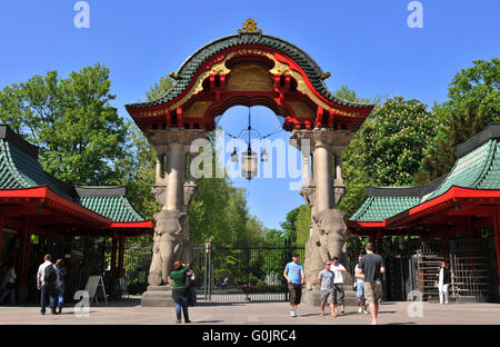 Elefantentor,Berlin Zoological Garden, Budapester Strasse, Tiergarten, Mitte, Berlin, Germany /  Elephant Gate, - Stock Photo