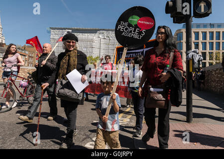 London, UK. 1st May 2016. Workers and trade unions' activists from Britain and around the world marched across London to mark the annual May Day, also know as Labour Day. Unionists and campaigners called for an end to austerity, standing up for human rights and international solidarity in the fight for trade unions' rights. Wiktor Szymanowicz/Alamy Live News