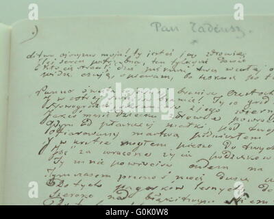 Wroclaw, Poland. 24th Apr, 2016. The handwritten original manuscript of the Polish national epic 'Pan Tadeusz' (lit. - Stock Photo