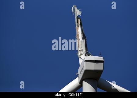 A wind turbine with a broken rotor seen on a field near a wind farm near Lehnin monastery, Germany, 02 May 2016. - Stock Photo