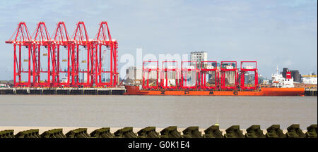 Liverpool, Merseyside, UK 2nd May, 2016. Chinese steel cranes arrive in the Mersey.  The Zhen Hua ship set off from - Stock Photo