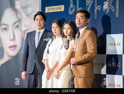 Seoul, South Korea. 2nd May, 2016. Cast members (L-R) Cho Jin-woong, Kim Min-hee, Kim Tae-ri and Ha Jung-woo pose - Stock Photo