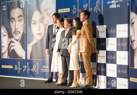 Cho Jin-woong, Kim Min-hee, Kim Tae-ri, Ha Jung-woo and Park Chan-wook, May 2, 2016 : Cast members Cho Jin-woong - Stock Photo