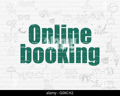 Tourism concept: Online Booking on wall background - Stock Photo