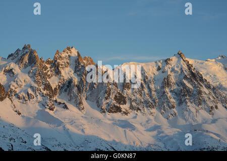 AIGUILLES DE CHAMONIX AT SUNSET. Chamonix Mont-Blanc, Haute-Savoie, Rhone-Alpes, France. - Stock Photo