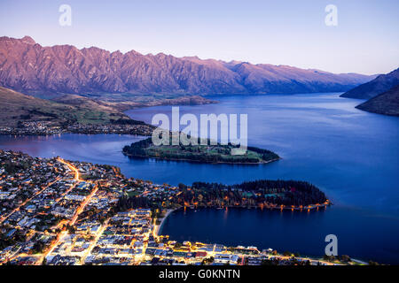 The view of Queenstown, New Zealand. - Stock Photo