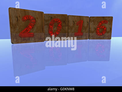 The 2016 number made of blocks - Stock Photo