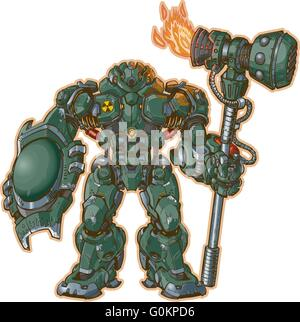 A vector illustration of a robot warrior with a shield and rocket hammer standing at the ready. - Stock Photo