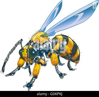 Vector cartoon clip art illustration of a robot wasp or bee. Could also be a conceptual illustration of future drone - Stock Photo