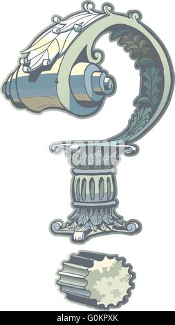 Vector Clip Art Illustration of a question mark rendered in a Roman or Greek column architecture style. - Stock Photo