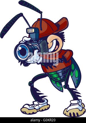 Cartoon vector clip art illustration of a shutter bug or insect mascot character holding a camera. - Stock Photo