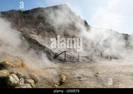 Solfatara volcano. Steam & sulfurous fumes rise from fumerole / fumeroles. Pozzuoli nr Naples Italy; Campi Flegrei - Stock Photo