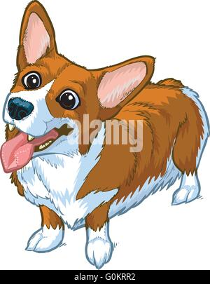 Vector cartoon clip art illustration of a cute and happy welsh corgi dog or puppy with its head cocked to one side, - Stock Photo